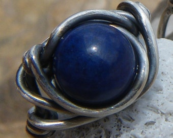 Deep Blue Sea Ring - Lapis and Sterling Silver Wire Wrapped  - Size 6.5 - Handmade and Oxidized