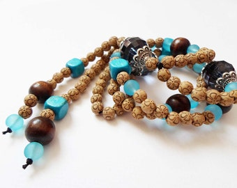 OOAK Handmade Bohemian Long Necklace, Hippie Boho chic Necklace, Brown Blue Statement Necklace, Big Beads Necklace Trendy Beautiful Necklace
