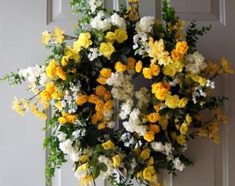 ORIGINAL Hand Made Wreath Spring  Summer Wreath, Wildflower Wreath, Yellow Roses Wreath,Roses Wreath