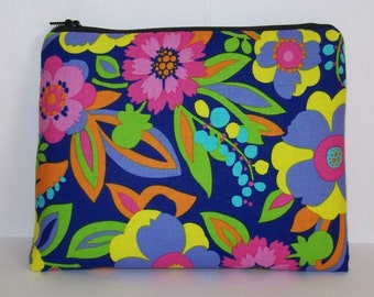 "Pipe Pouch, Tropical Floral Bag, Pipe Case, Pipe Bag, XL Zipper Bag, Stoner, Padded Pipe Pouch, Hippie, 420, Gadget Bag, 7.5"" x 6"" - X LARGE"