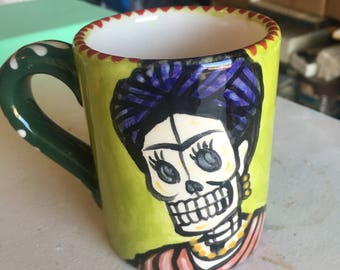 Day of the Dead Mug - Frida in Yellow