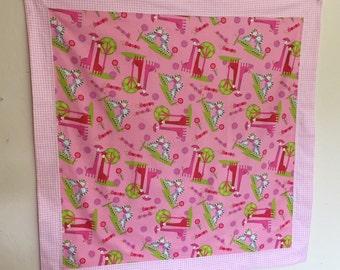Baby or Elder  Blanket Pink Giraffes and Zebras