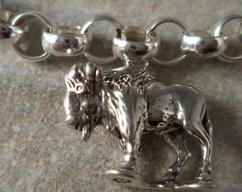 STERLING SILVER 3D Buffalo Charm for Bracelet or Necklace