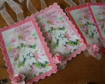Vintage Valentine's day gift tags Pink floral cute poodles glittered party favor tags package ties gift wrap shabby chic gift for friend