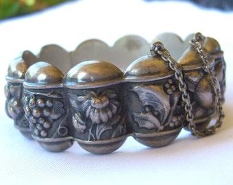 Antique Repousse Bracelet from Portugal - Portuguese Silver 1930s Calendar Bangle