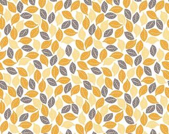 Sweet Prairie Leaves Yellow fabric - Riley Blake - Sedef Imer - 100% cotton - by the half yard - modern, floral, geometric