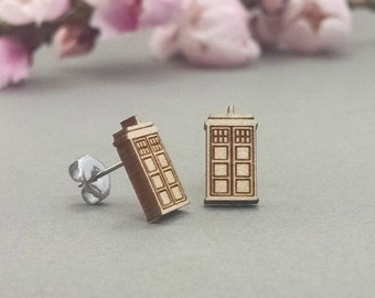 Doctor Who TARDIS Earrings - Laser Engraved Wood Earrings - Hypoallergenic Titanium Post Earring Pair