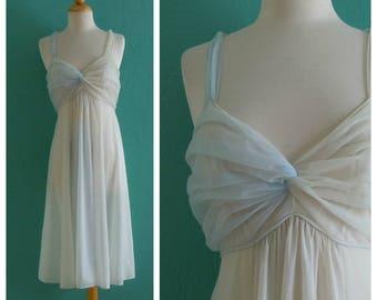 70's blue ombre slip dress // blue night gown