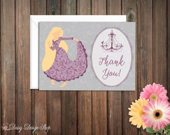 Thank You Cards - Rapunzel Princess Silhouette with Chandelier and Damask - Tangled - Set of 10 with Envelopes