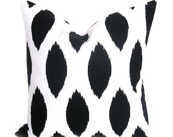 15% Off Sale 24x24 Euro Pillow Cover.Ikat Pillow.Black and White Pillow.ONE 24X24 .Spots.Ikat Pillow.Decorator Throw Pillows.Print Fabric on