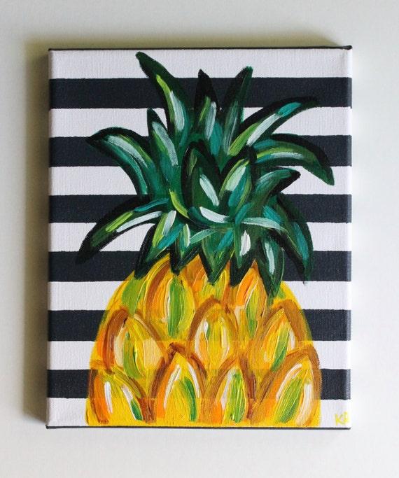 Pineapple Art Pineapple Painting Kitchen Art Dining Room