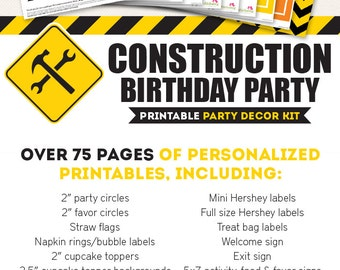 Construction Birthday Party Printable Decor Kit - Over 75 pages of personalized designs!