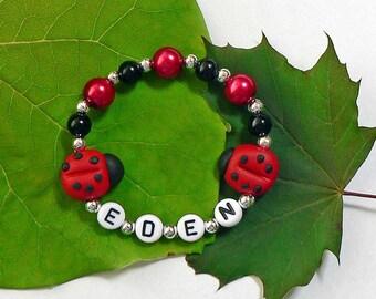 LadyBugs Bracelet Polymer Clay Ladybug Beads Hypoallergenic Personalized Name Bracelet Girls Stretchy Bracelet