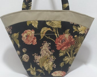 Black Botanical Tote Bag,  Black Printed Cotton Handbag, Shoulder Bag, Everyday Purse, Summer Bag,  gift ideas for women