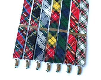 Mens Tartan Suspenders~Groomsmen Accessory~HoBo Ties~Groom~Wedding Suspenders~Tartan Plaid~Mens suspenders~Wedding Accessory