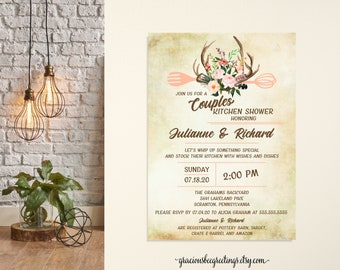 Floral Antler Couples Wedding Shower Invitation, Couples Kitchen Shower, His and Hers Shower, Buck Bridal Shower, Printable, Digital, Invite