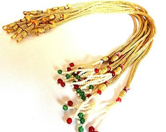 GOELX Designer Back Rope Connecting Dori for Necklace Making, Silk Thread/Terracota Jewellery, Quilling - Gold with Pearls