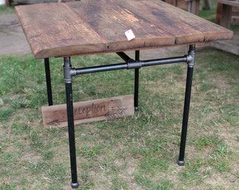 Pub Table Barn Wood Top Industrial Modern Black Steel Pipe Legs Urban FREE SHIPPING