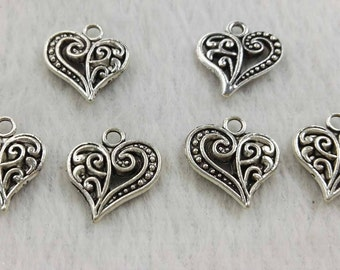40 pcs  Double Sided Heart Charms , Love Pendants , Antiqued Silver Charms ,DIY Jewelry Pendants ,Findings