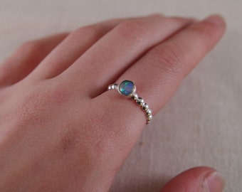 Bubble band  silver opal ring