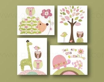 Baby Girl Nursery Decor Hedgehog nursery giraffe nursery turtle nursery Birds nursery tree Kids wall art You are my sunshine Set of 4 prints