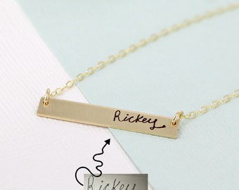 Handwriting necklace • Bar name necklace • Actual handwriting name necklace • Bar necklace • Engraved necklace• Personalized Name necklace