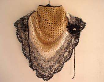 small crochet shawl, scarf and its black dahlia