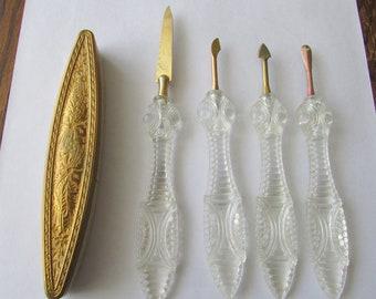 Vintage Lucite Manicure Set 5 Piece Nail Tools File Buffer