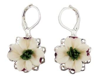 Dogwood Filigree Earrings - Silver or Antique Brass Dogwood Vintage Style Earrings, Dogwood Jewelry, White Dogwood Earrings
