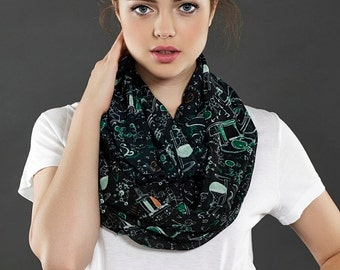 Black Science Infinity Scarf Chemistry Scarf Formulas Long Geek Scarf Gift Ideas For Her, Spring - Summer - Fall - Winter Session