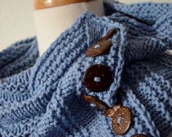 Sky Blue Waffle Scarf Organic Wool Button Wrap. Merino Wool, Coconut Buttons, Natural Fibers, Mori Girl, Pale Blue, Slow Fashion, Autumn