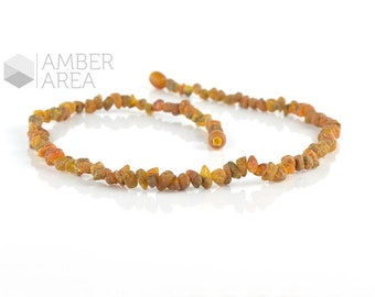 Raw amber necklace. Amber nuggets beads necklace. Short necklace. Baltic amber necklace.  ~43 cm. 2203