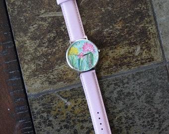 Original Hand Painted watch, Genuine Leather, Maghnam Khadash, Class Art