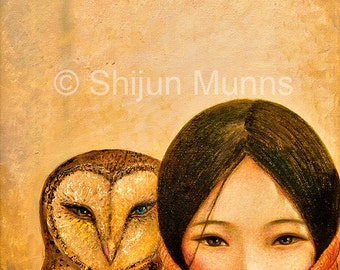 Girl with owl, art print, golden color giclee print on professional paper or canvas by Shijun Munns, Spiritual Art, wall art, gift