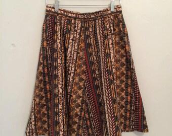 vintage. 1970s tiki print skirt