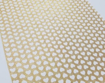 Faux Leather GOLD w/ WHITE HEARTS sheet,8x11 faux leather,gold vegan leather, white faux leather,fake leather,faux leather fabric vinyl