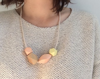 Pastel Wooden Bead and Rope Necklace
