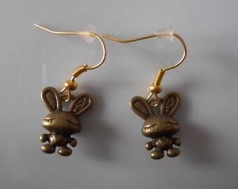 Earrings metal bunnies