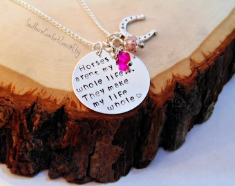 Horse Necklace Jewelry - Horses aren't my whole life they make my life whole - Country Equestrian Horses Back Riding Barrel Racing  Love