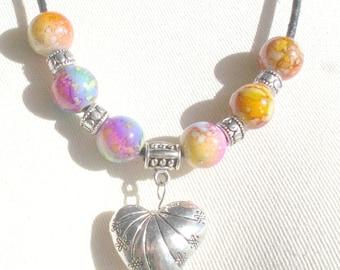 Multicolor Bead Necklace,Silver Heart Necklace,Multicolor Bead Rope Necklace,Rope Necklace,Silver Heart,Rainbow Bead Necklace,Heart Necklace