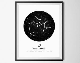 Sagittarius Print, Sagittarius Zodiac, Sagittarius Poster, Constellation Print, Zodiac Poster, Sagittarius Sign, Zodiac Birthday Gift, 8x10