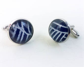 Cufflinks 'Victor' - Blue and white japanese Washi paper, glass cabochon - Round cufflinks, gift for him, unisex, something blue, handmade
