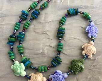 "Asymmetrical blue green turtle necklace, 18"" surfer necklace, Ocean summer jewelry, Funky hippie beach, OOAK unique gift under 30 dollars"