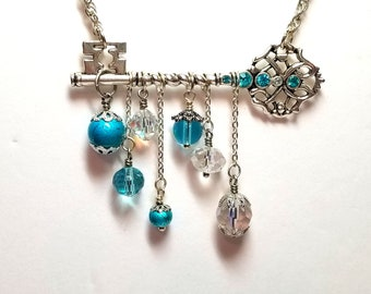 Skeleton Key necklace - blue crystals - clear crystals - vintage necklace - Victorian style - gift
