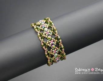 Beading Tutorial - 6mm 2-hole Cabochon Bracelet Tutorial - Beading Pattern - Adiva Bracelet - Digital Download