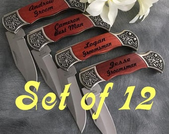 12 Engraved Pocket Knives  / Personalized Groomsman Gift /  Laser Engraved Rosewood Knife / Custom Wedding Gift / Personalized