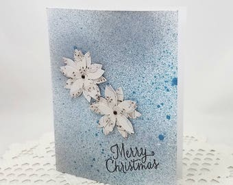Blue Merry Christmas Card - Blue Distressed Card - Holiday Card - Musical Note Paper Flowers - Blue Christmas Card - Blank Card - Distressed