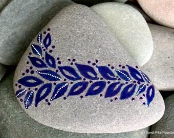 indigo leaves / painted stones / painted rocks / paperweights / rock art / art on stone / sea stones / beach art / beach decor / boho decor