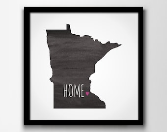 STATE OF MINNESOTA & Home Town Love Watercolor Map Print - Custom / Personalized Art Print