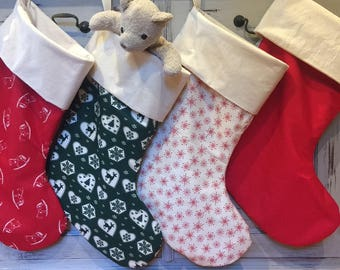 Christmas In July, Christmas Stockings, Quality Padded and Lined, 55cm Long, Calico & Snowflake